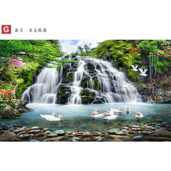迎客松山水风景画自粘墙贴墙纸大型壁画客厅沙发电视背景墙画壁纸 g