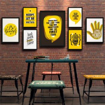 工业风企业装饰画办公室励志画健身房挂画咖啡厅餐厅复古创意壁画 7联