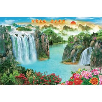 迎客松风景画客厅装饰画墙画山水旭日东升风水聚宝盆年画墙贴海报