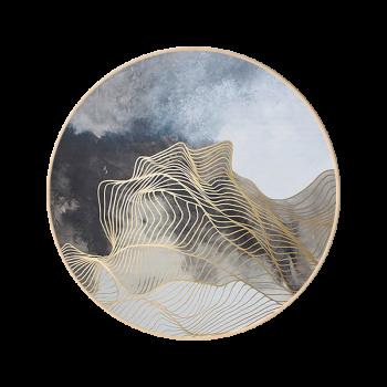 意境线条抽象画圆形新中式禅意挂画客厅玄关餐厅壁画圆框装饰画 k款