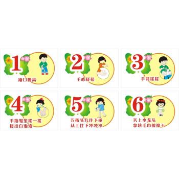 标准六七步洗手法步骤图 学校幼儿园 医院标标识牌温馨提示海报图 一