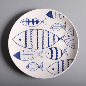 创意陶瓷西餐牛排手绘鱼纹盘 8英寸家用菜盘圆盘子 批发礼品瓷 手绘