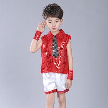 服爵士舞幼儿园表演服男亮片舞蹈服环保服装时装秀 亮片男孩大红色