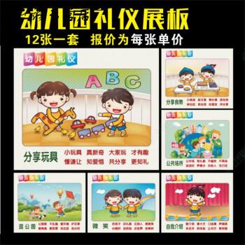 幼儿园礼仪展板文明礼仪布置装饰贴纸墙画海报标语儿童识标识挂图 裱p图片