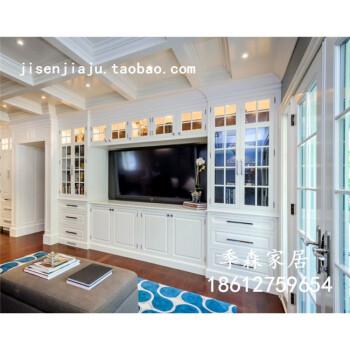 欧式整体电视墙柜 客厅背景墙 实木书柜玻璃门一体组合柜白色衣柜