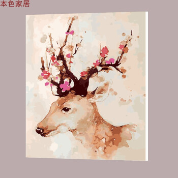 数字油画填色 客厅卧室风景动物人物向日葵鹿手工手绘装饰画 梅花鹿二