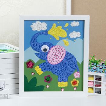 动手diy小礼物儿童玩具手工制作纽扣粘贴画花diy材料包含裱框 大象2