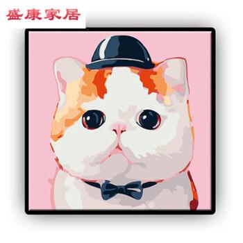 别颖带内框卡通diy数字油画儿童房可爱动漫小动物狗猫