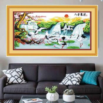 手工十字繡成品八方聚財聚寶盆客廳風景畫2米大幅裝飾