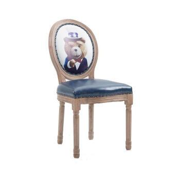 2018新款美式接待欧式实木靠背办公椅款单人写字凳子木质写字台餐桌