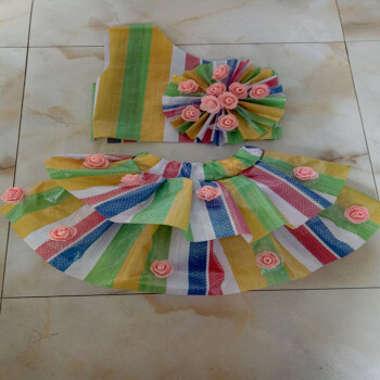 儿童舞台走秀演出服亲子装手工制作塑料袋服装 七彩色