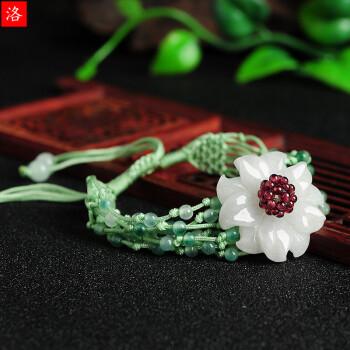 洛曼欧 翡翠紫荆花手工编织手链 玉器饰品可伸缩女款手链