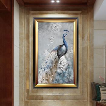 入户玄关画竖版孔雀装饰画走廊挂画欧式油画过道壁画美式客厅墙画 c图片
