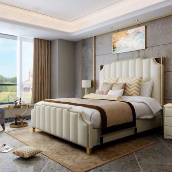 床美式床实木床简欧港式双人床真皮床婚床卧室酒店家具 旗舰版床头1.图片