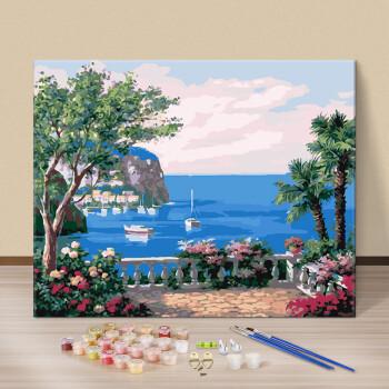 diy数字油画油彩画 客厅海边风景花卉手绘数码填色装饰画海边小花
