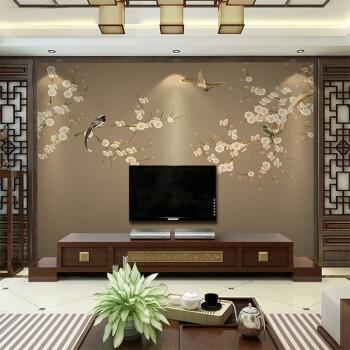 智茵 现代新中式花鸟手绘壁纸客厅沙背景墙古典无纺布墙纸卧室壁布