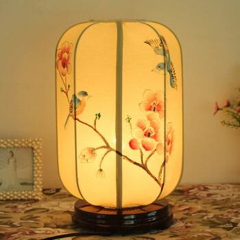 台灯卧室中式手绘床头柜灯书房茶楼复古创意客栈民俗中国风台灯 米