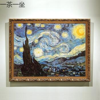 名画临摹梵高手绘客厅油画罗纳河畔的星夜欧式壁炉玄关挂画装饰画