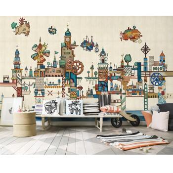 抽象卡通机械城堡墙纸壁画手绘创意风车儿童房幼儿园背景墙布壁纸