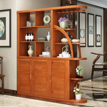 实木酒柜新中式入户玄关门厅隔断现代简约间厅柜客厅屏风双面鞋柜