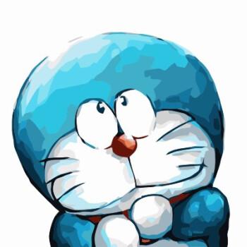 哆啦a梦diy手绘数字油画卡通动漫儿童情侣填色画机器猫表情包时尚家居