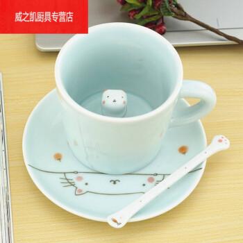 陶瓷3d萌物杯个性创意手绘可爱动物马克杯情侣杯子带盖勺子 猫咪在杯