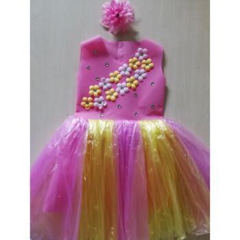 儿童环保演出服装无纺布塑料袋制作衣服时装走秀亲子装公主裙 粉加黄