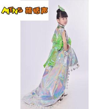 小孩子的儿童环保表演服装时装秀演出服亲子装女公主裙走秀 幻彩银色