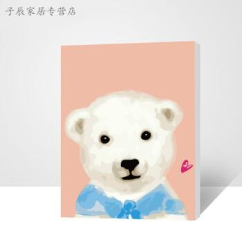 diy数字油画 儿童卡通动漫萌宠动物油彩填色装饰画小动物 猪兔马 小熊