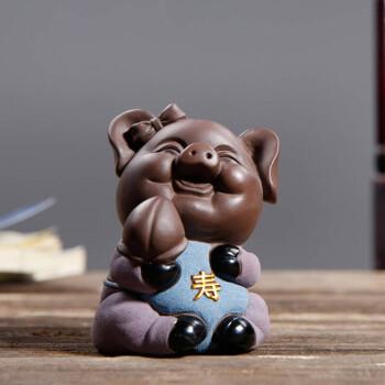 博古架摆件 创意可爱陶瓷福猪工艺品摆件 生肖猪装饰品摆件 五福系列
