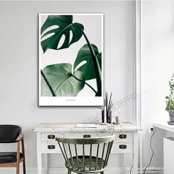 北欧风格龟背竹装饰画简约沙发背景墙画客厅绿植物墙画挂画三联画 01图片