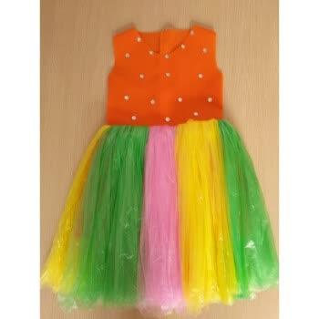 六儿童节环保服装演出服儿童时装秀手工材料制作环保衣服公主裙 橘红