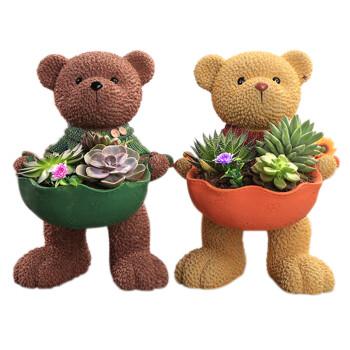 千特 多肉植物陶瓷花盆创意简约树脂花盆动物兔子盆卡通小熊大盆栽