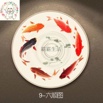 新中式入户玄关圆形九鱼图装饰挂画沙发背景墙面油画壁画饰品 六顺图9