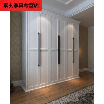 简欧实木衣柜 白色烤漆衣柜 储物柜美式大衣橱 卧室家具 可 6门 三门