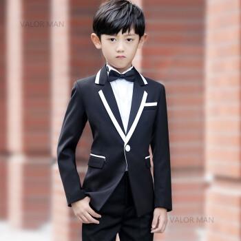礼服休闲儿童西装童装模特走秀服装套装男童小孩西服晚 黑色小白边3