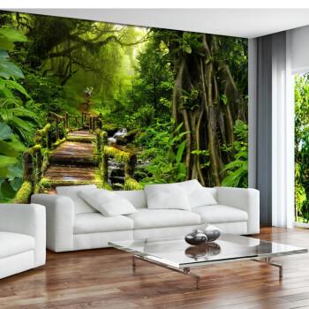 绿色风景墙纸大自然森林3d立体壁画展厅餐饮工装壁纸大型无缝墙布