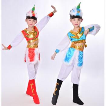 六一演出服儿童表演服民族蒙族女童筷子舞蹈服幼儿蒙古舞服装 红色 17