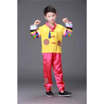 男女童朝鲜族演出服男女韩服少数民族服装表演服儿童舞蹈服饰 黄色男