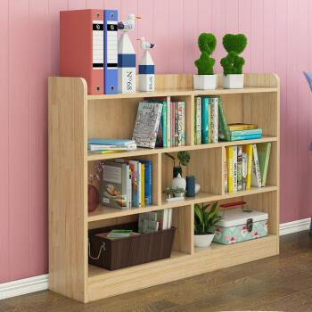 实木落地书架创意组合多层学生书柜简约现代幼儿园收纳架原木 中间书架90高