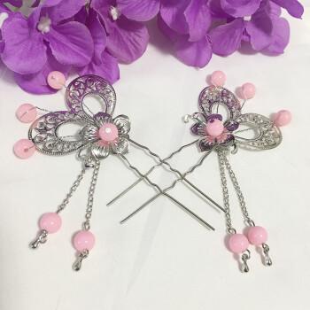 新款儿童古装女古代贵妃公主发簪发饰发梳小姐头饰流苏步摇发钗 粉色