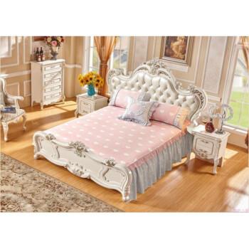 棉床罩左右两边垂下床裙 单件欧式床单床罩 床尾有档板的床用mhp0719