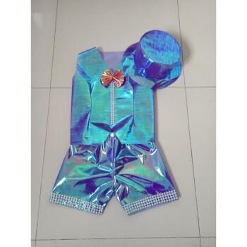 儿童演出服装幼儿园手工diy彩色塑料纸制作模特走秀服装 宝蓝色马甲