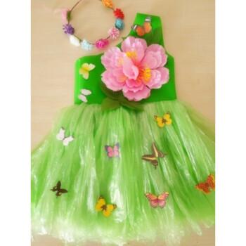 幼儿园演出服装女童环保衣服时装走秀舞蹈服手工制作母女装公主裙