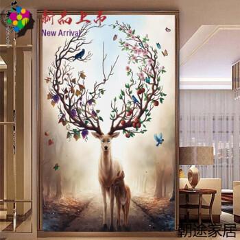 χ2018新品十字绣发财鹿客厅风景简约现代竖版玄关小幅麋鹿大幅定制款