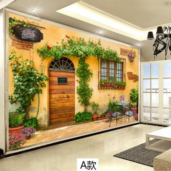 维宜斯欧式3d咖啡馆电视背景墙壁纸乡村街道街景壁纸田园花卉整体无缝图片