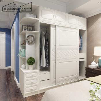 欧式衣柜模压推拉门衣柜 衣帽间组装整体趟门实木美式