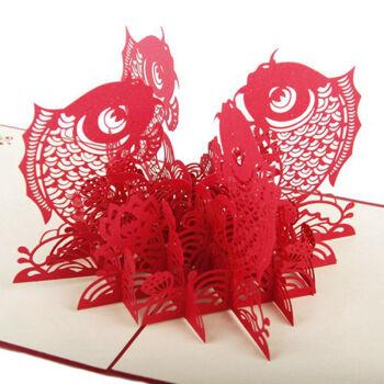 afrocat迎新创意立体贺卡手工纸雕定制圣诞节卡片新年图片