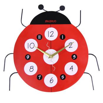七星瓢虫卡通时尚创意挂钟个性静音钟表儿童房时钟挂表