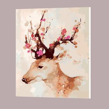 客厅卧室风景动物人物向日葵鹿手工手绘装饰画抖音 梅花鹿二 40*50厚